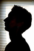 Side view silhouette of woman