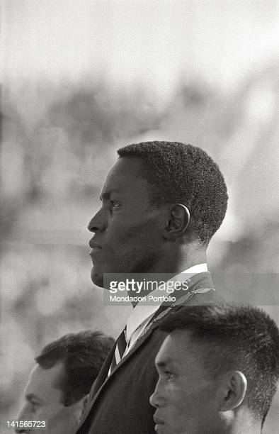 Sideface of the US decathlete Rafel Johnson photographed with the gold medalon on his neck that conquered after he had beaten in a hardfought final...