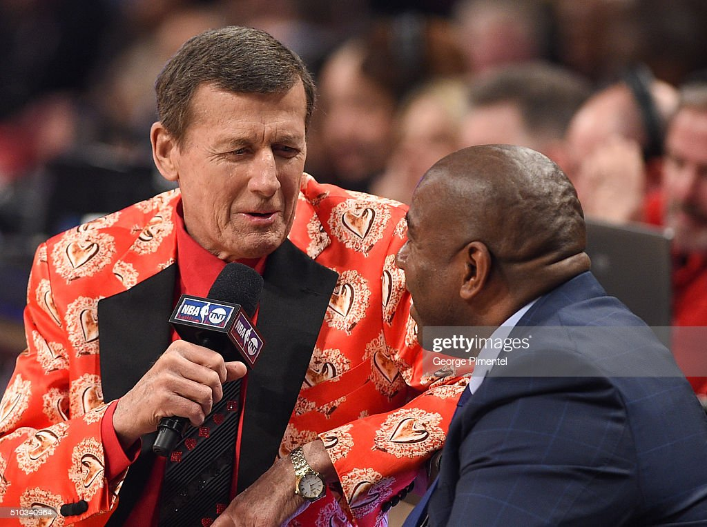 Sideline Reporter <a gi-track='captionPersonalityLinkClicked' href=/galleries/search?phrase=Craig+Sager&family=editorial&specificpeople=617407 ng-click='$event.stopPropagation()'>Craig Sager</a> (L) and Former NBA Player <a gi-track='captionPersonalityLinkClicked' href=/galleries/search?phrase=Magic+Johnson&family=editorial&specificpeople=157511 ng-click='$event.stopPropagation()'>Magic Johnson</a> attend the 2016 NBA All-Star Game at Air Canada Centre on February 14, 2016 in Toronto, Canada.