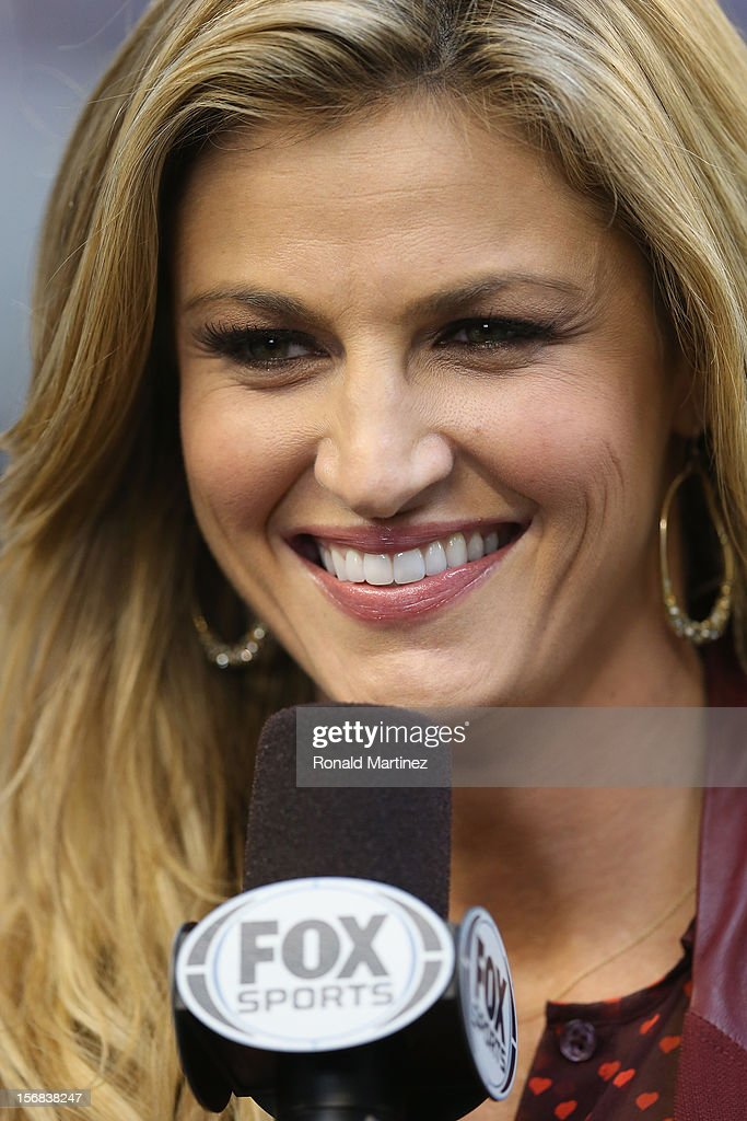 Sideline reporter <a gi-track='captionPersonalityLinkClicked' href=/galleries/search?phrase=Erin+Andrews&family=editorial&specificpeople=834273 ng-click='$event.stopPropagation()'>Erin Andrews</a> during a Thanksgiving Day game between the Washington Redskins and the Dallas Cowboys at Cowboys Stadium on November 22, 2012 in Arlington, Texas.