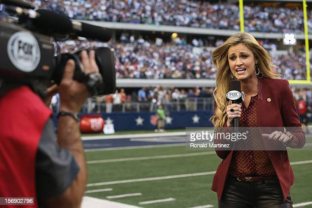 Sideline reporter Erin Andrews during a Thanksgiving Day game between the Washington Redskins and the Dallas Cowboys at Cowboys Stadium on November...
