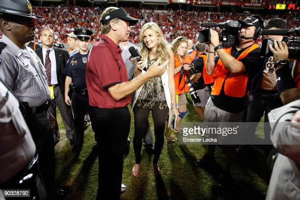 ESPN sideline reporter Erin Andrews interviews head coach Steve Spurrier of the South Carolina Gamecocks after their game against the North Carolina...