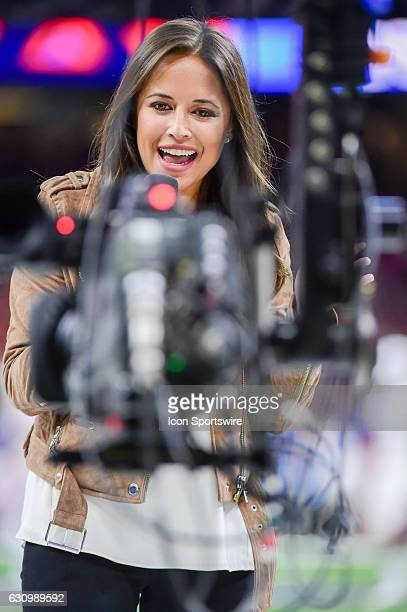 ESPN sideline reporter Kaylee Hartung provides her opening piece to the game for the ESPN TV audience employing a jib camera before the Sugar Bowl...