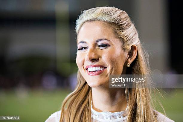 ESPN sideline reporter Laura Rutledge during a game between the Mississippi State Bulldogs and the South Carolina Gamecocks at Davis Wade Stadium on...