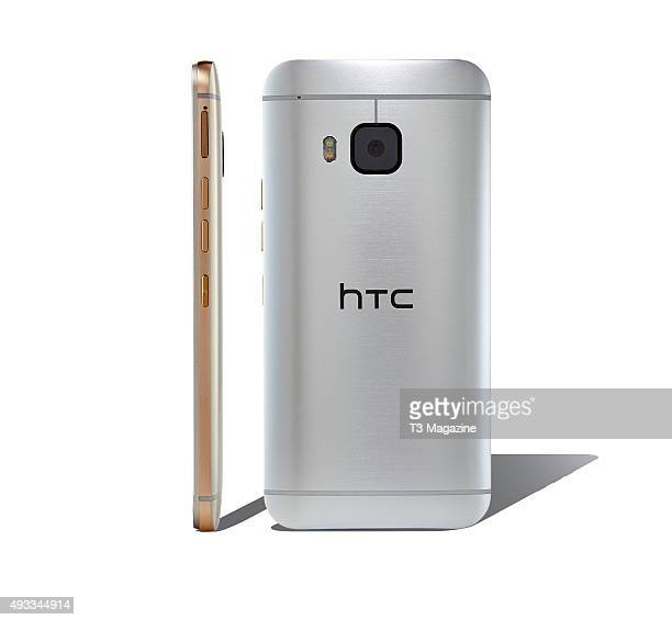 Sideon and rear view of two HTC One M9 smartphones taken on February 16 2015
