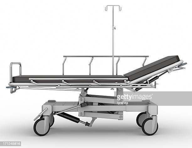 Side-profile view of stretcher parked on white background