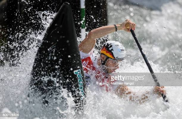 Sideris Tasiadis of Germany competes during the Canoe Single Men's Qualification of the ICF Canoe Slalom World Cup on June 23 2017 in Augsburg Germany