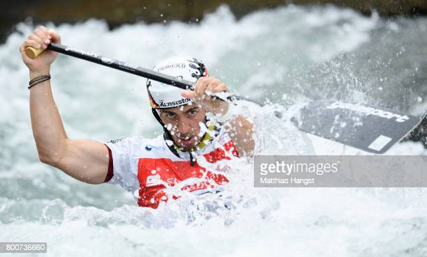 Sideris Tasiadis of Germany competes during the Canoe Single Men's Semifinal of the ICF Canoe Slalom World Cup on June 25 2017 in Augsburg Germany