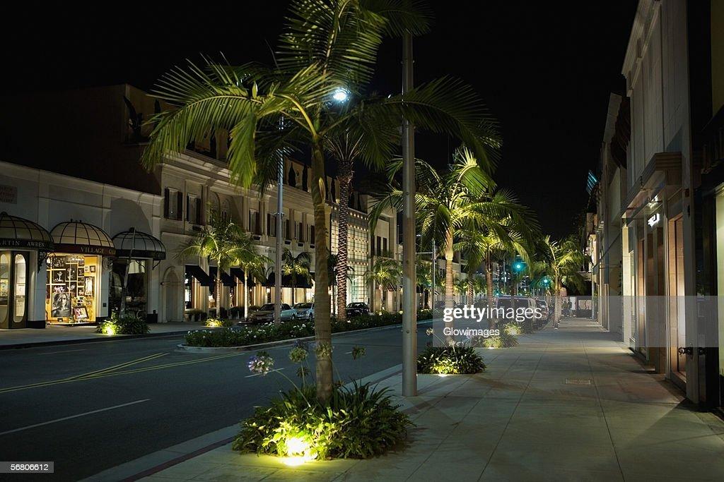 Sidewalk at the Rodeo Drive at night, Los Angeles, California, USA