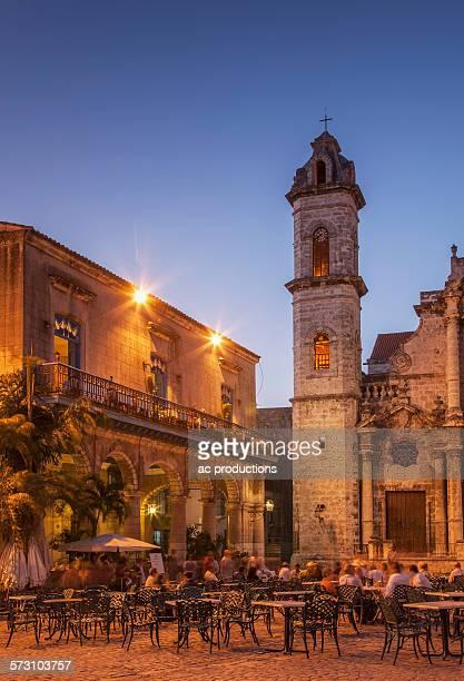 Sidewalk cafe in city square, Havana, Cuba