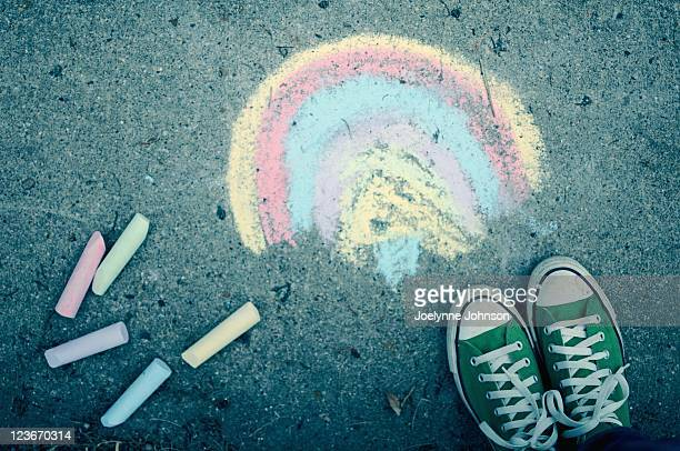 Sidewalk chalk and green converse
