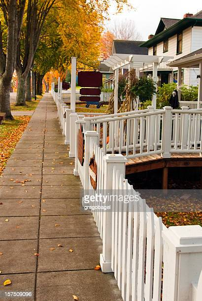 Sidewalk in small American town