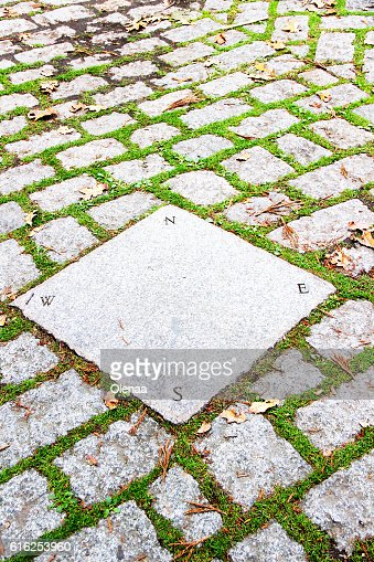 Sidewalk. Tiles with signs skyline sides. Grass between the tile : Foto de stock