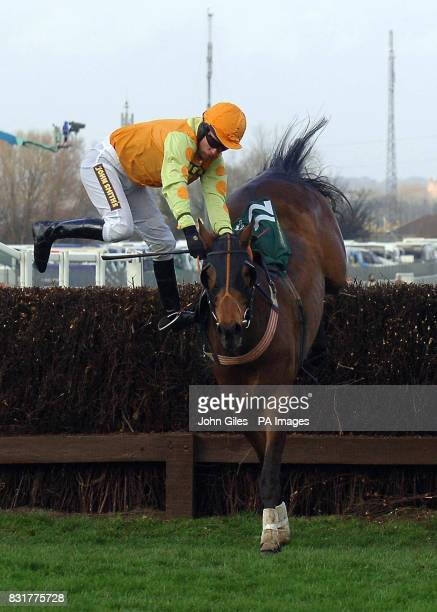 Sideways exit for jockey Timmy Murphy on Almaydan in the John Smiths Red Rum Chase during the first day of the Grand National meeting at Aintree...