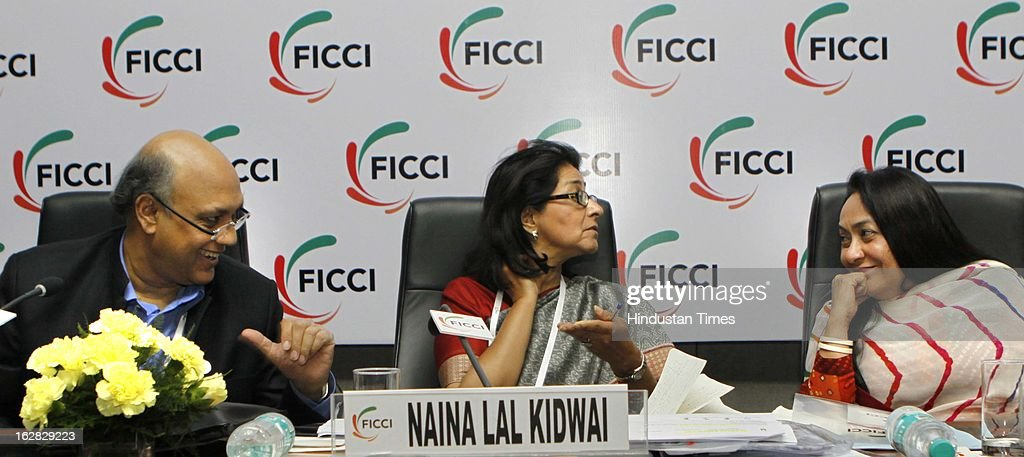 Sidharth Birla, Naina Lal Kidwai and Jyotsna Suri react during Industry - Media Interface on Union Budget Session 2013-14 at Federation House, FICCI on February 28, 2013 in New Delhi, India. India Inc gave a thumbs up to the UPA-II's last Union Budget before the general elections next year.