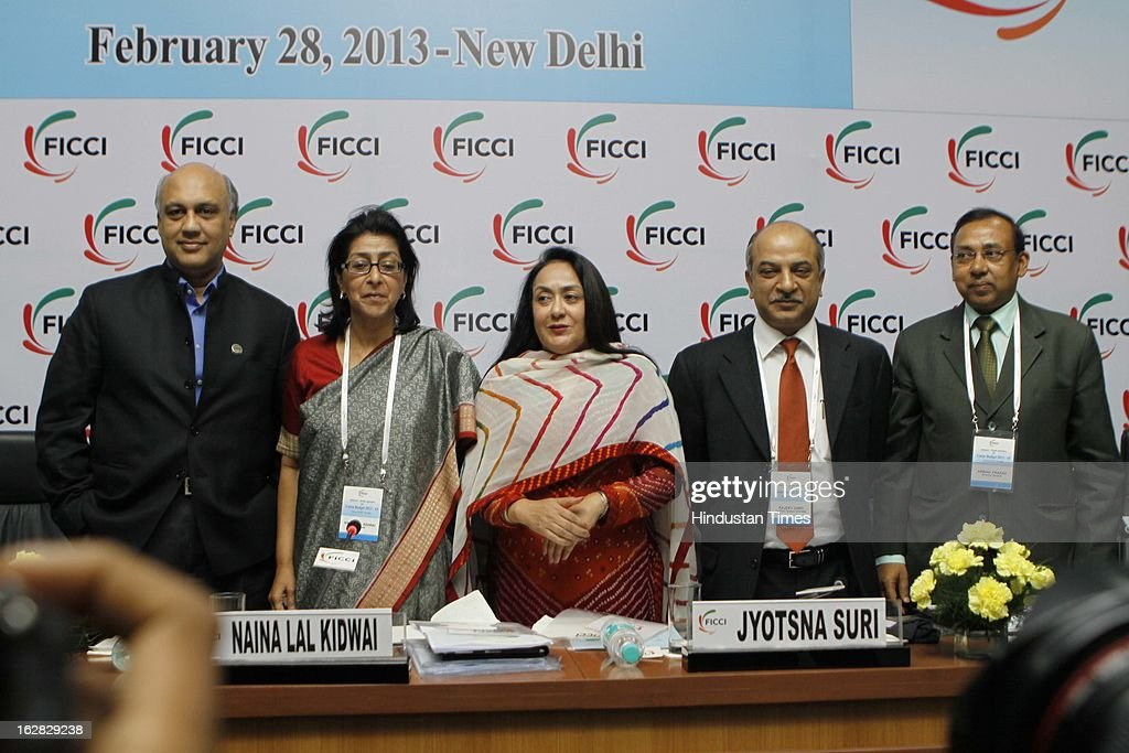 , Sidharth Birla, Naina Lal Kidwai, Jyotsna Suri, Rajeev Dimari and Arbind Prasad Pose for a group photograph during Industry - Media Interface on Union Budget Session 2013-14 at Federation House, FICCI on February 28, 2013 in New Delhi, India. India Inc gave a thumbs up to the UPA-II's last Union Budget before the general elections next year.