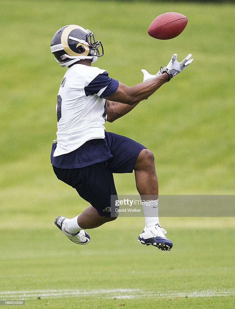Sidiq Soulemana (6) of the St. Louis Rams leaps for a ball during a drill during the 2013 St. Louis Rams rookie camp at Rams Park on May 10, 2013 in Earth City, Missouri.