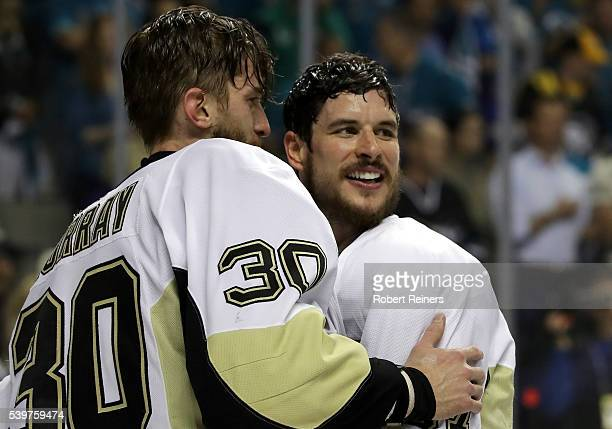 Sidney Crosby and Matt Murray of the Pittsburgh Penguins celebrate after the Penguins celebrate after their 31 victory to win the Stanley Cup against...