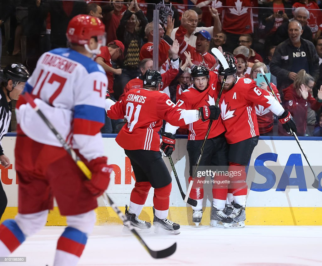 Sidney Crosby #87 celebrates with Steven Stamkos #91 and Shea Weber #6 of Team Canada after scoring a first period goal on Team Russiaat the semifinal game during the World Cup of Hockey 2016 tournament at the Air Canada Centre on September 24, 2016 in Toronto, Ontario, Canada.