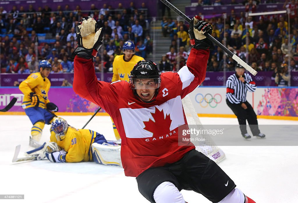 <a gi-track='captionPersonalityLinkClicked' href=/galleries/search?phrase=Sidney+Crosby&family=editorial&specificpeople=212781 ng-click='$event.stopPropagation()'>Sidney Crosby</a> #87 of Canada celebrates after scoring his team's second goal in the second period during the Men's Ice Hockey Gold Medal match against Sweden on Day 16 of the 2014 Sochi Winter Olympics at Bolshoy Ice Dome on February 23, 2014 in Sochi, Russia.