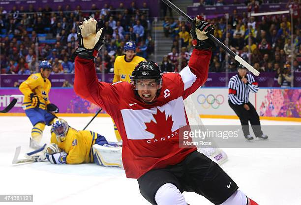 Sidney Crosby of Canada celebrates after scoring his team's second goal in the second period during the Men's Ice Hockey Gold Medal match against...
