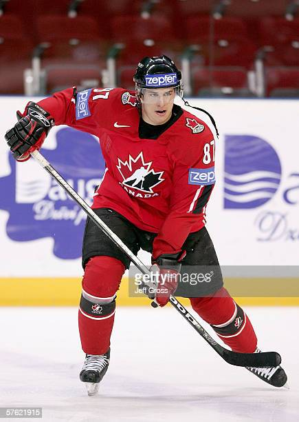Sidney Crosby of Canada warms up before the start of the IIHF World Championship qualifying game between Canada and Finland at Riga Arena on May 15...