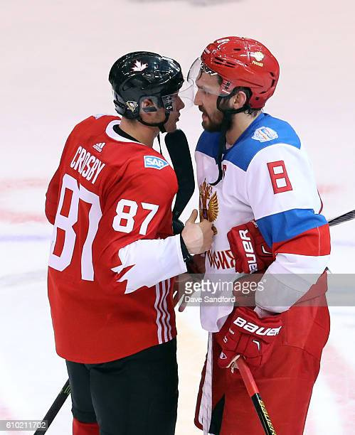 Sidney Crosby of Team Canada and Alex Ovechkin of Team Russia have a chat after Team Canada's 53 victory at the semifinal game during the World Cup...