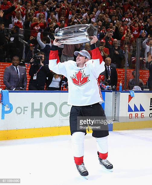 Sidney Crosby of Team Canada carries the World Cup of Hockey Trophy after Canada defeated Europe 21 during Game Two of the World Cup of Hockey final...
