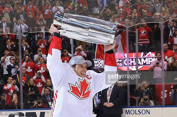 Sidney Crosby of Team Canada celebrates after a 21 victory over Team Europe during Game Two of the World Cup of Hockey final series at the Air Canada...