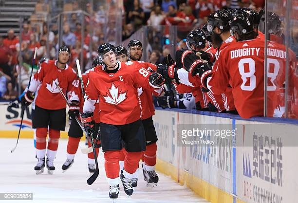 Sidney Crosby of Team Canada high fives the bench after scoring a first period goal Team Europe during the World Cup of Hockey 2016 at Air Canada...