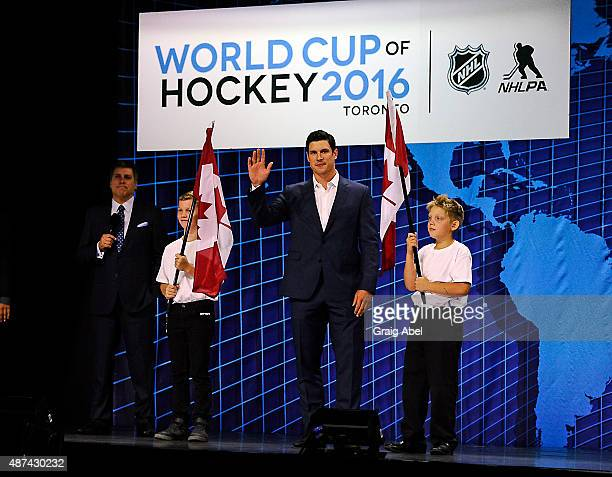 Sidney Crosby of Team Canada is introduced during the World Cup of Hockey Media Event on September 9 2015 at Air Canada Centre in Toronto Ontario...