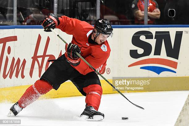 Sidney Crosby of Team Canada skates with the puck during practice at the World Cup of Hockey 2016 at Air Canada Centre on September 16 2016 in...