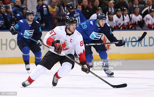 Sidney Crosby of Team Canada stickhandles the puck against Team Europe during Game Two of the World Cup of Hockey final series at the Air Canada...