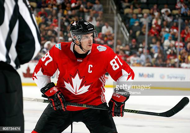 Sidney Crosby of Team Canada takes a faceoff against the Team Russia at Consol Energy Center on September 14 2016 in Pittsburgh Pennsylvania