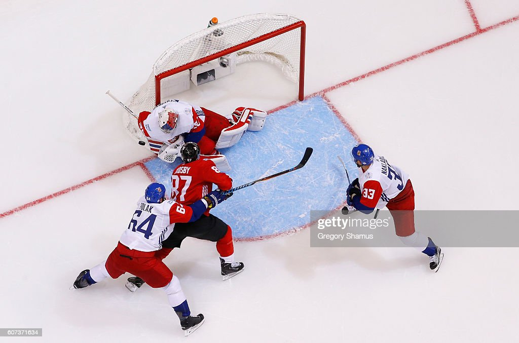 Sidney Crosby #87 of Team Canada tries to score on Michal Neuvirth #30 of Team Czech Republic during the World Cup of Hockey at the Air Canada Center on September 17, 2016 in Toronto, Canada. Canada won the game 6-0.