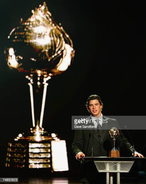 Sidney Crosby of the Pittsburgh Penguins accepts the Hart Memorial Trophy for NHL Most Valuable Player onstage during the 2007 NHL Awards Show at the...