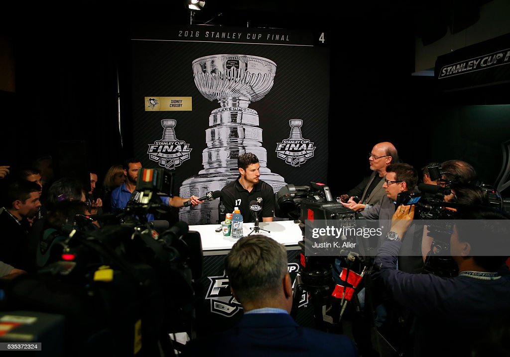 <a gi-track='captionPersonalityLinkClicked' href=/galleries/search?phrase=Sidney+Crosby&family=editorial&specificpeople=212781 ng-click='$event.stopPropagation()'>Sidney Crosby</a> #87 of the Pittsburgh Penguins addresses the media during the NHL Stanley Cup Final Media Day at Consol Energy Center on May 29, 2016 in Pittsburgh, Pennsylvania.