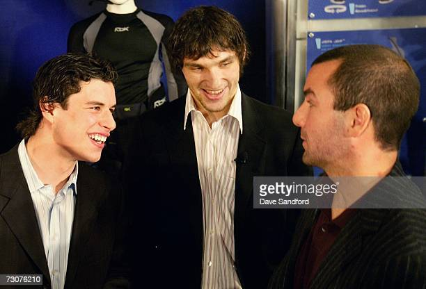Sidney Crosby of the Pittsburgh Penguins Alexander Ovechkin of the Washington Capitals and Marty Turco of the Dallas Stars converse at NHL/Reebok...