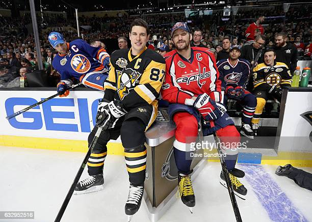 Sidney Crosby of the Pittsburgh Penguins and Alex Ovechkin of the Washington Capitals look on during the 2017 Coors Light NHL AllStar Skills...