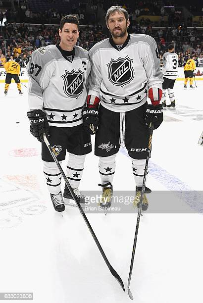 Sidney Crosby of the Pittsburgh Penguins and Alex Ovechkin of the Washington Capitals pose for a photo during warmup prior to the 2017 Honda NHL...