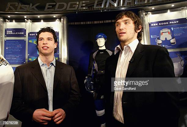 Sidney Crosby of the Pittsburgh Penguins and Alexander Ovechkin of the Washington Capitals pose together as NHL/Reebok launch the new advanced Rbk...