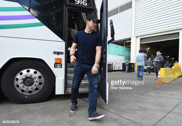 Sidney Crosby of the Pittsburgh Penguins arrives for practice for the 2017 Coors Light NHL Stadium Series game to be played between the Philadelphia...