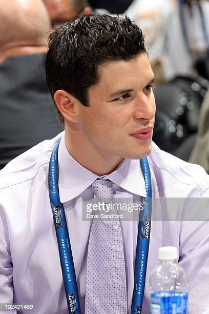 Sidney Crosby of the Pittsburgh Penguins attends the 2010 NHL Entry Draft at Staples Center on June 25 2010 in Los Angeles California