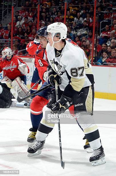 Sidney Crosby of the Pittsburgh Penguins battles for position against Alex Ovechkin of the Washington Capitals at the Verizon Center on February 3...
