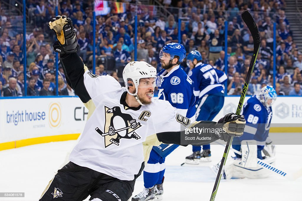 Sidney Crosby #87 of the Pittsburgh Penguins celebrates a goal against the Tampa Bay Lightning during the second period of Game Six of the Eastern Conference Finals in the 2016 NHL Stanley Cup Playoffs at the Amalie Arena on May 24, 2016 in Tampa, Florida.