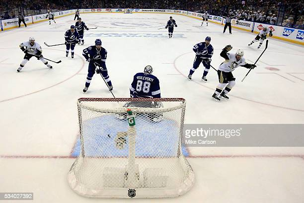 Sidney Crosby of the Pittsburgh Penguins celebrates after scoring a goal against Andrei Vasilevskiy of the Tampa Bay Lightning during the second...