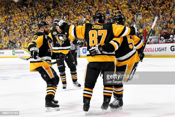 Sidney Crosby of the Pittsburgh Penguins celebrates his first period goal against the Ottawa Senators in Game Five of the Eastern Conference Final...