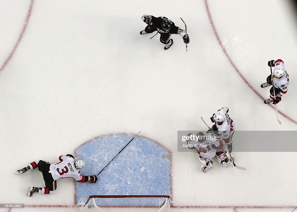 <a gi-track='captionPersonalityLinkClicked' href=/galleries/search?phrase=Sidney+Crosby&family=editorial&specificpeople=212781 ng-click='$event.stopPropagation()'>Sidney Crosby</a> #87 of the Pittsburgh Penguins celebrates his goal against the Ottawa Senators during the game at Consol Energy Center on February 13, 2013 in Pittsburgh, Pennsylvania. The Penguins won 4-2.