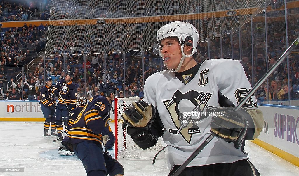 Sidney Crosby #87 of the Pittsburgh Penguins celebrates his second period goal against the Buffalo Sabres on February 5, 2014 at the First Niagara Center in Buffalo, New York.