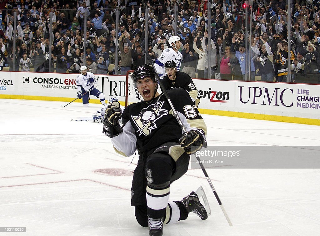 Sidney Crosby #87 of the Pittsburgh Penguins celebrates his third period goal against the Tampa Bay Lightning during the game at Consol Energy Center on March 4, 2013 in Pittsburgh, Pennsylvania. The Penguins defeated the Lightning 4-3.